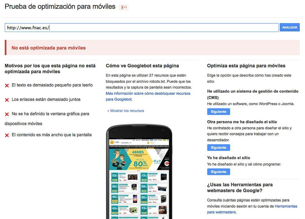 Optimizacion Movil Google FNAC